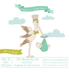 Bashower card with stork vector