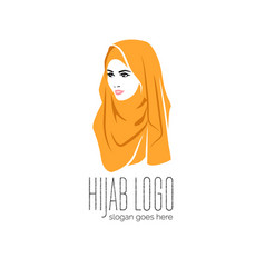 beautiful woman wearing colorful hijab icon hijab vector image