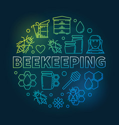 beekeeping round creative in vector image