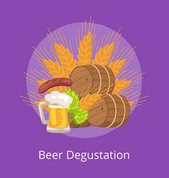 Beer degustation wooden casks vector