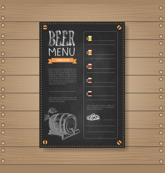 Beer menu design for restaurant cafe pub chalked vector