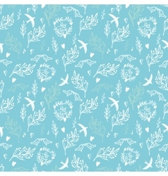 Blue seamless pattern with flowers and birds vector