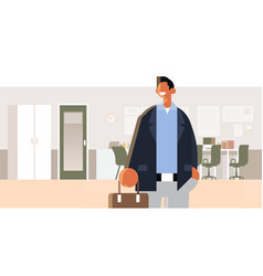 businessman holding suitcase happy man in formal vector image