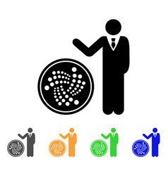 Businessman show iota coin icon vector