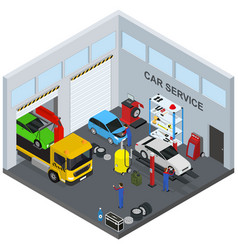 Car service interior with furniture and equipment vector