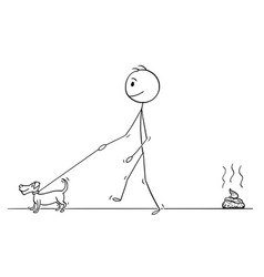 Cartoon of man walking with small dog leaving vector