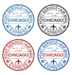 Chicago postmarks set of colored ink stamps vector