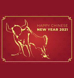 chinese new year 2021 year cow vector image