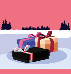 christmas gift boxes in the winter landscape vector image