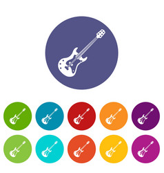 classical electric guitar icons set flat vector image