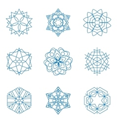 Collection of blue snowflakes winter vector
