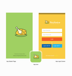 company chicken meat splash screen and login page vector image