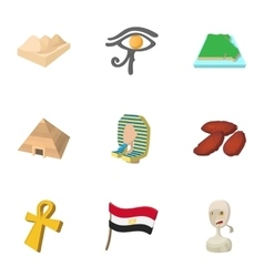 country egypt icons set cartoon style vector image