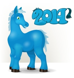 Cute blue horse wishes a happy new year 2014 vector image vector image