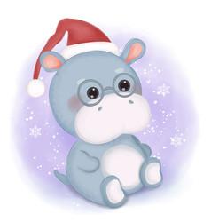 Cute hippo wearing santa hat vector