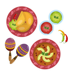 Delicious mexican food cartoon vector
