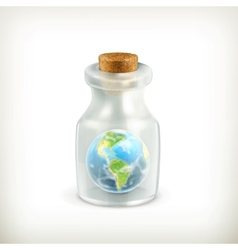 Earth in a bottle icon vector image