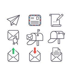 Email letter icons set envelope cover vector