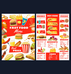 Fast food burgers snacks and desserts menu vector