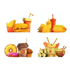 Fast Food Meal Retro Cartoon Set vector image