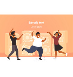 fat obese man dancing on dance floor with african vector image