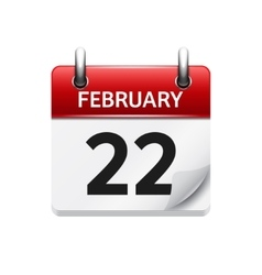February 22 flat daily calendar icon Date vector