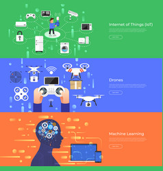 Flat design concept internet thing drones and vector