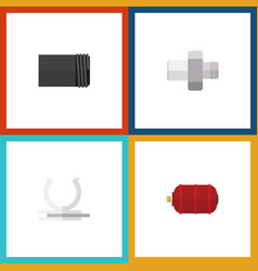 Flat icon industry set of container tube conduit vector