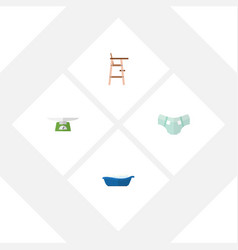 Flat infant set of bathtub children scales nappy vector