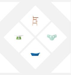flat infant set of bathtub children scales nappy vector image