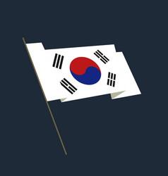 Flat style waving republic of korea flag vector