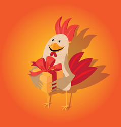 Funny card with a rooster in cartoon style vector