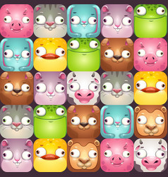 Funny seamless pattern with comic cartoon animal vector