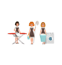 girls in apron doing housework young women vector image