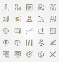 Graphic design colored icons set - design vector