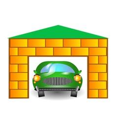 Green car in garage vector