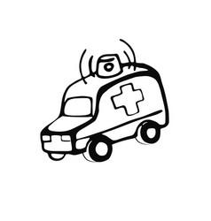 hand-drawn ambulance linear image on the vector image