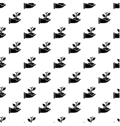 hand sprout pattern seamless vector image