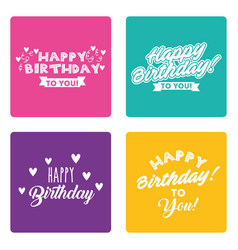 happy birthday card set lettering different syle vector image
