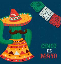 happy cinco de mayo mexican mariachi cactus card vector image