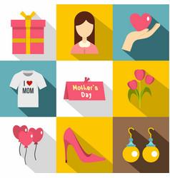 happy mama day icon set flat style vector image