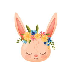 Hare head with flower wreath flora and fauna vector