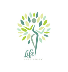 healthy life logo design with abstract silhouette vector image