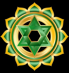 hindu chakra anahata medallion vector image vector image