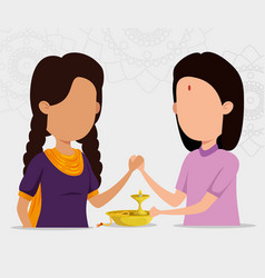 Hindu girls sisters with candle and bracelet vector