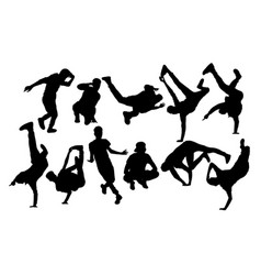 hip hop and dance people silhouettes vector image