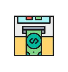 insert credit card bank atm cash vector image