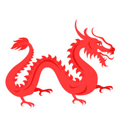 Isolated red dragon on white chinese symbol vector
