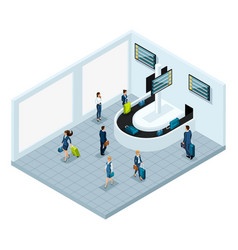 Isometric baggage claim hall after flight vector