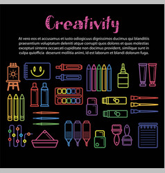 kids creativity poster of art and drawing tools vector image
